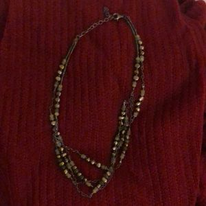 Silpada silver & green toned beaded necklace